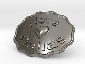I Love Dallas Belt Buckle in Polished Nickel Steel
