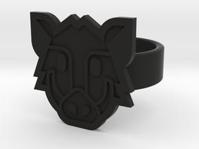 Boar Ring in Black Natural Versatile Plastic: 8 / 56.75