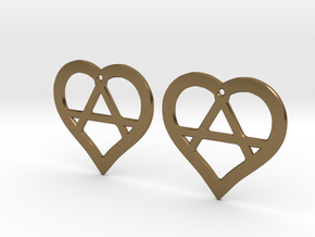 The Wild Hearts (precious metal earrings) in Polished Bronze