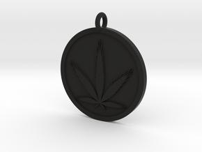 Cannabis Pendant in Black Natural Versatile Plastic