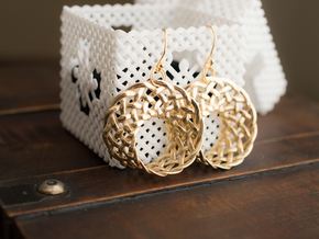 Woven Mobius Earrings in Polished Brass