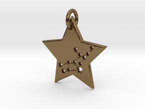 Virgo Constellation Pendant in Polished Bronze