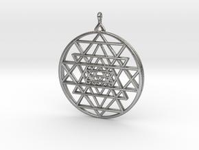 2.5D Sri-Yantra  6.3cm (All Metals) in Natural Silver