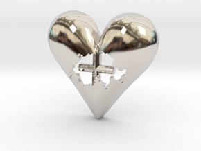 Switzerland (Suisse) in Heart Pendant in Rhodium Plated Brass