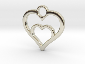 Heart in heart in 14k White Gold: Small