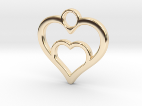Heart in heart in 14k Gold Plated Brass: Small
