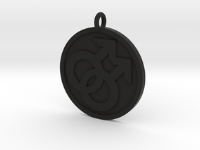 Double Male Pendant in Black Natural Versatile Plastic