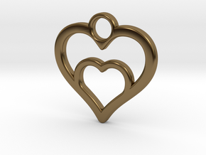 Heart in heart in Polished Bronze: Small