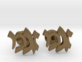 "Hebrew Monogram Cufflinks - ""Zayin Mem Gimmel"" in Natural Bronze"