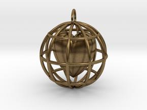 Caged Heart Pendant in Interlocking Raw Bronze