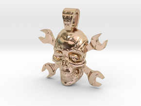 skull and keys in 14k Rose Gold Plated Brass