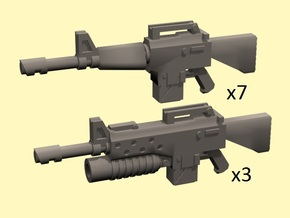28mm NAM16 Assault Rifles (10) in Smoothest Fine Detail Plastic