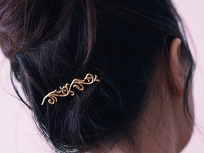 Filigree Bobby Pin in Polished Gold Steel