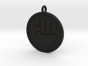 Raised Fist Pendant in Black Natural Versatile Plastic
