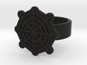 Spider Web Ring in Black Natural Versatile Plastic: 8 / 56.75
