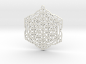 38x2mm Flower of Life Lotus in White Natural Versatile Plastic