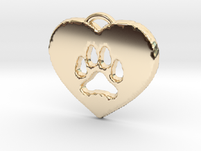 heart paw in 14K Yellow Gold