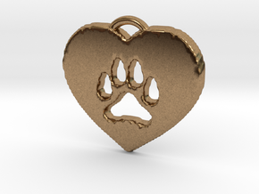 heart paw in Natural Brass