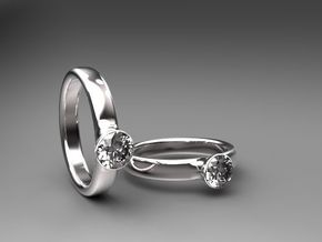 Diamond Solitaire Engagement Ring - Gold & Silver in Fine Detail Polished Silver