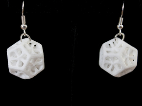 Dodecahedron Earrings in White Processed Versatile Plastic