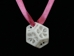 Dodecahedron Pendant in White Processed Versatile Plastic