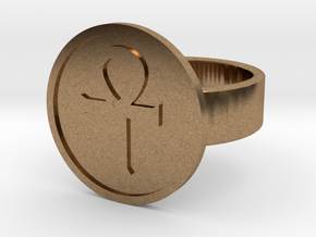 Ankh Ring in Natural Brass: 10 / 61.5