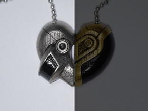 Robot Love Pendant (Silver Half) in Polished Nickel Steel