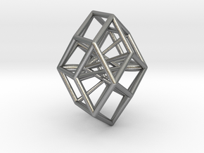 Rhombic Icosahedron Pendant in Natural Silver