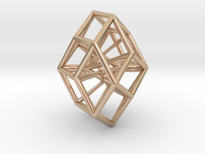 Rhombic Icosahedron Pendant in 14k Rose Gold Plated Brass