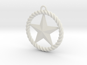 Braided Rope & Star Pendant. 30mm in White Natural Versatile Plastic