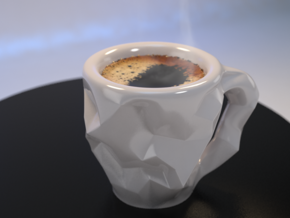 Crushed Espresso Cup in White Strong & Flexible Polished