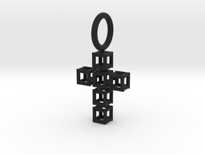 Square Cross Pendant in Black Natural Versatile Plastic