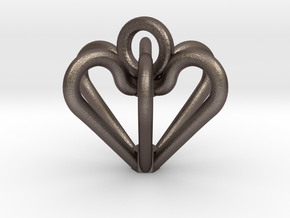 Elegant Heart Pendant  in Polished Bronzed Silver Steel