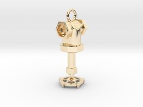 Steampunk style earring in 14K Yellow Gold