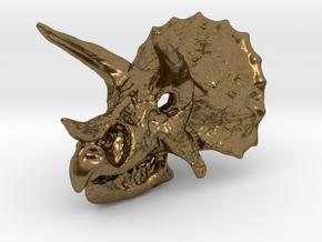 Triceratops Dinosaur Skull Pendant in Natural Bronze