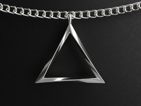 Twisting Triangle Pendant in Polished Silver