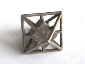 Average D8 Cage Dice in Polished Bronze Steel