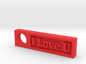 """I Love U"" Keychain Ornament in Red Processed Versatile Plastic"