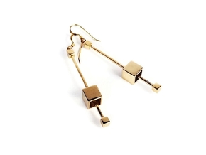 Dangling Cube Earrings - Minimal Geometric Jewelry in Polished Bronze