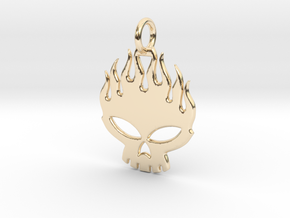 Flaming skull in 14k Gold Plated Brass