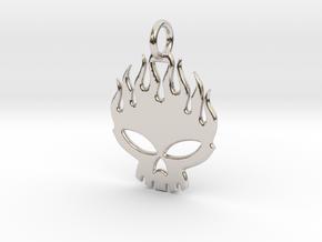 Flaming skull in Rhodium Plated Brass