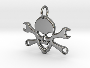 Skull and cross toolkeys Pendant in Polished Silver