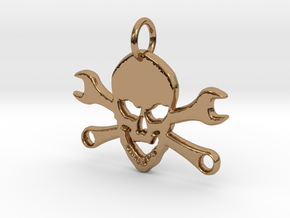 Skull and cross toolkeys Pendant in Polished Brass