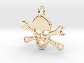 Skull and cross toolkeys Pendant in 14K Yellow Gold