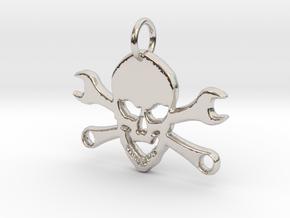 Skull and cross toolkeys Pendant in Rhodium Plated Brass