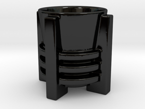 Art Deco Cup in Gloss Black Porcelain