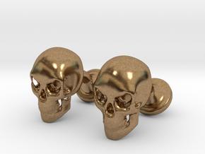 Skull Cufflinks in Natural Brass