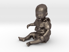 Scanned 7 month old Baby boy_6CM High in Polished Bronzed Silver Steel