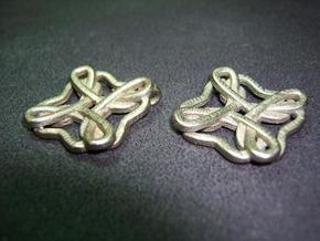 Friendship knot earrings in Polished Bronzed Silver Steel