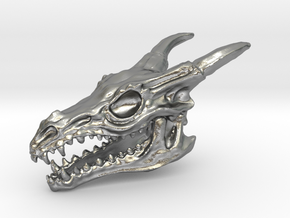 Dragon Skull in Natural Silver